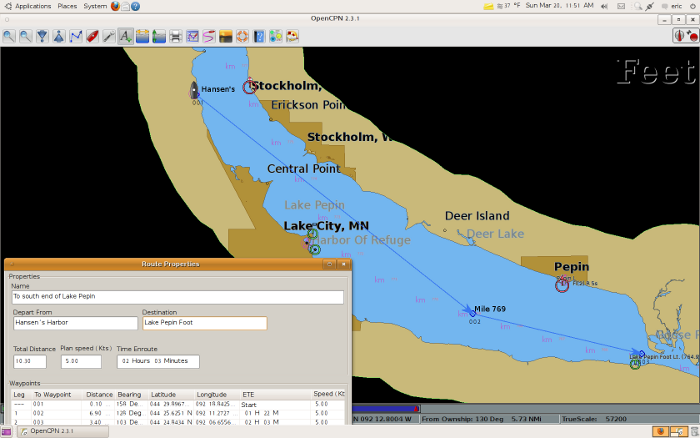 Screen shot from OpenCPN Lake Pepin(Pool 4 Mississippi River)